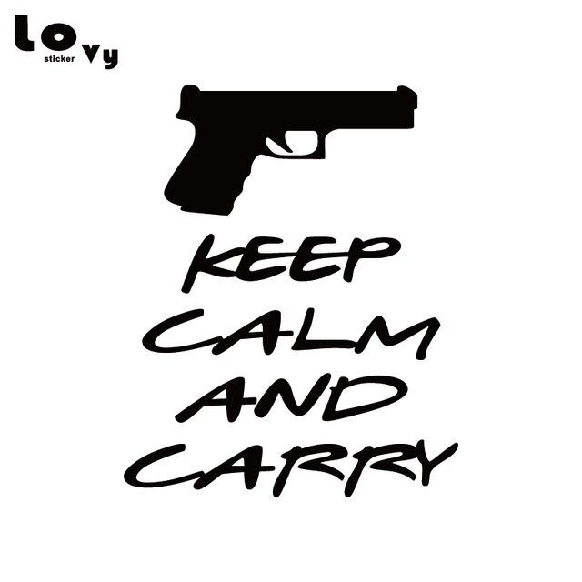 keep calm and carry pistol vinyl car sticker creative english words