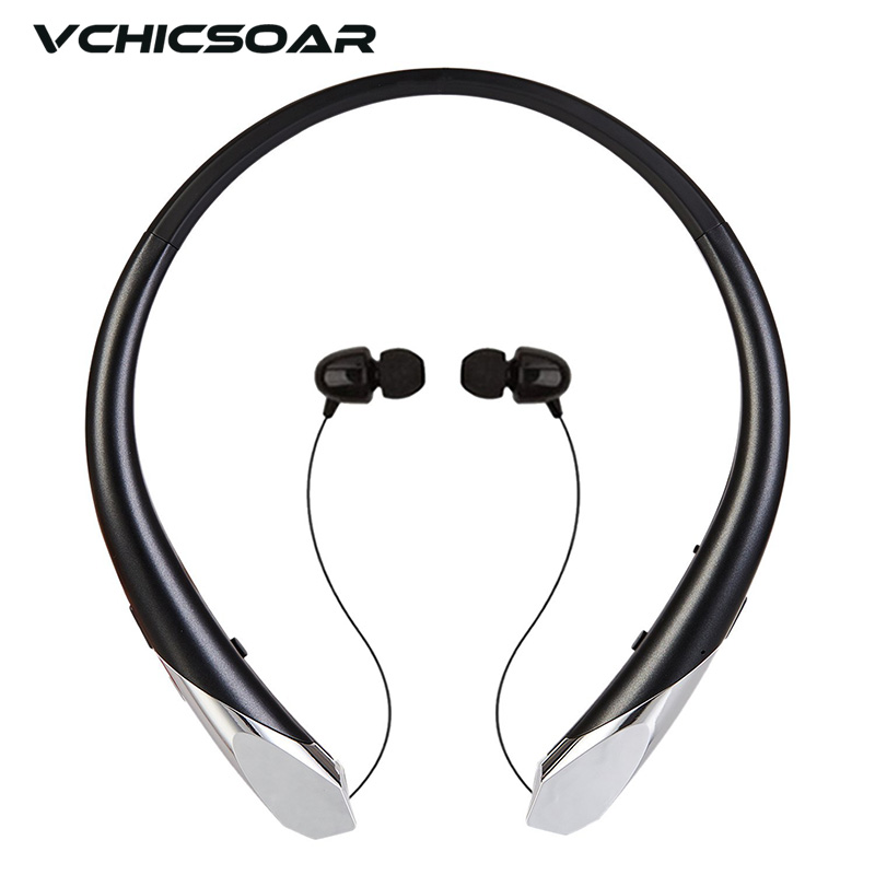 Vchicsoar HX911 Sports Wireless Bluetooth Headphones Retractable Headset Stereo Bass Neckband Earphone with Mic for Mobile Phone
