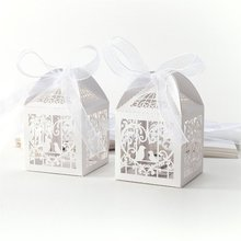 RMTPT 50Pcs/set Love Birdie Heart Laser Cut Gift Candy Boxes Wedding Party Favors gift wedding candy box Free shipping