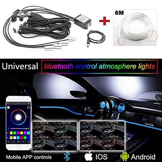 6M RGB LED Car Interior Light Multicolor EL Neon Strip Light Sound Active Bluetooth APP Phone Control Atmosphere Light 12V гирлянда luazon бахрома 1 2m 0 6m multicolor rgb 1080411
