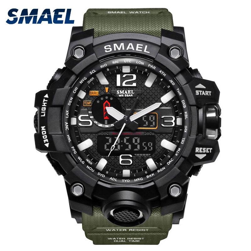 SMAEL Sport Uhren für Männer Wasserdichte Digitaluhr LED männer Armbanduhr Uhr Mann 1545 montre homme Große Männer Uhren Military