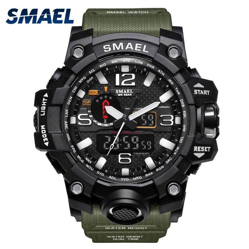 Smael Спорт Часы для Для мужчин Водонепроницаемый цифровые часы LED Для мужчин наручные часы человек 1545 Montre Homme большой Для мужчин Часы Военное ...