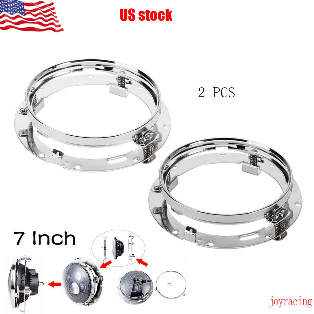 1 Pair Chrome Round Headlamp 7 Inch Headlight Mounting Ring Trim Bracket For Harley Davidson And