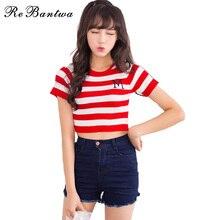 Rebantwa Summer Style Blusas Remiendo de La Raya de La Camiseta 2017 Arroz de Corea Mujeres de la camiseta Carta Bordado Lindo Tee Femenino