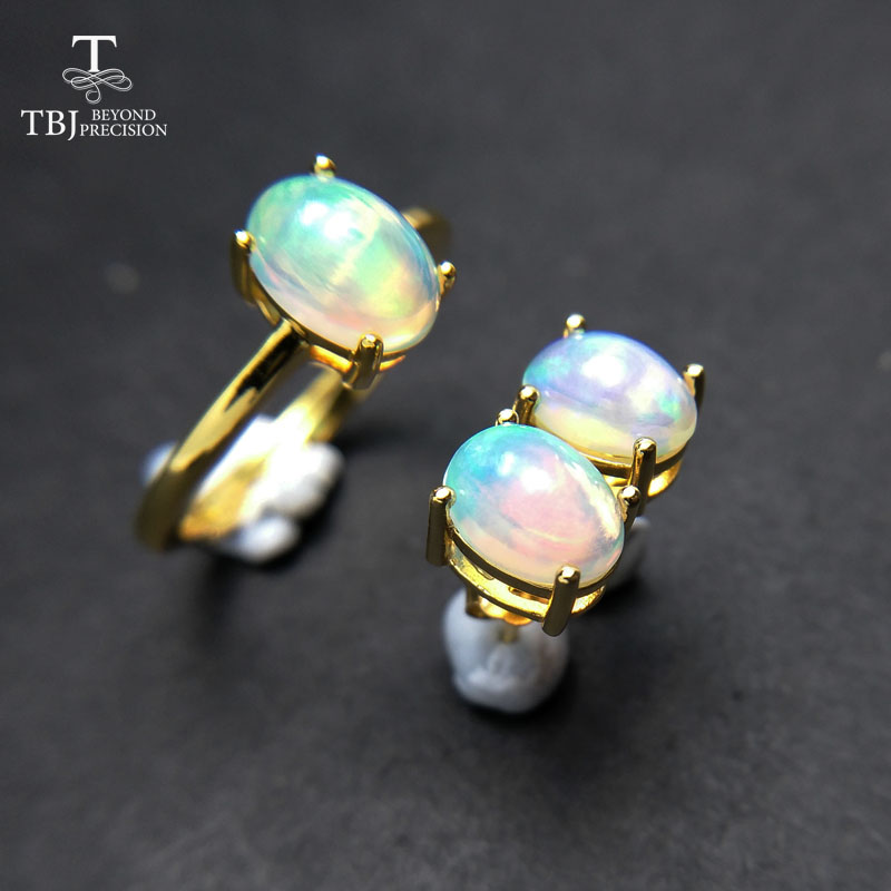 TBJ,100% natural Top quality opal jewelry set Ring and earring S925 silver yellow gold simple design for women daily wear gift yellow multi wear tube top