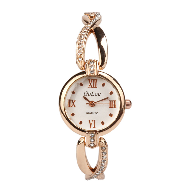 Hot Sale Roman Numeral rose gold bracelet watch Women Ladies Crystal dress Quart