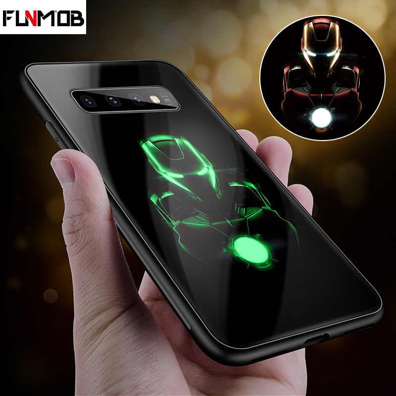Marvel Avengers Luxury Luminous Tempered Glass Phone Case Iron Man Silicone Case For Samsung Galaxy s8 s9 s10 Plus 8 9 note marvel glass iphone case