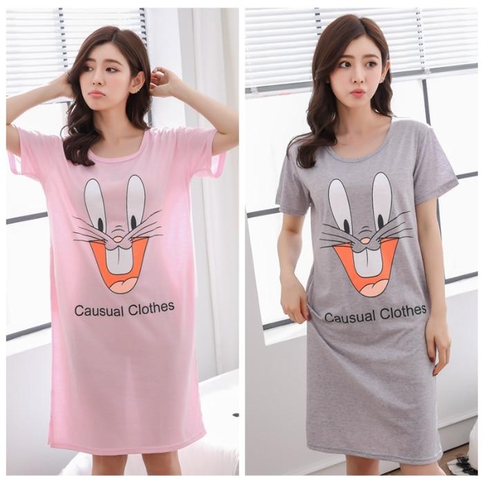 Summer Women's Short Sleeve Sleepwear Home Cloth Carton Nightshirt Women Causal Sleepwear Love Ladies Nightgown Girl Nightgown