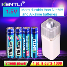 цена на KENTLI 4pcs 1.5v 1100mWh AAA rechargeable polymer lithium battery + 4 slots aa aaa lithium battery charger with flashlight