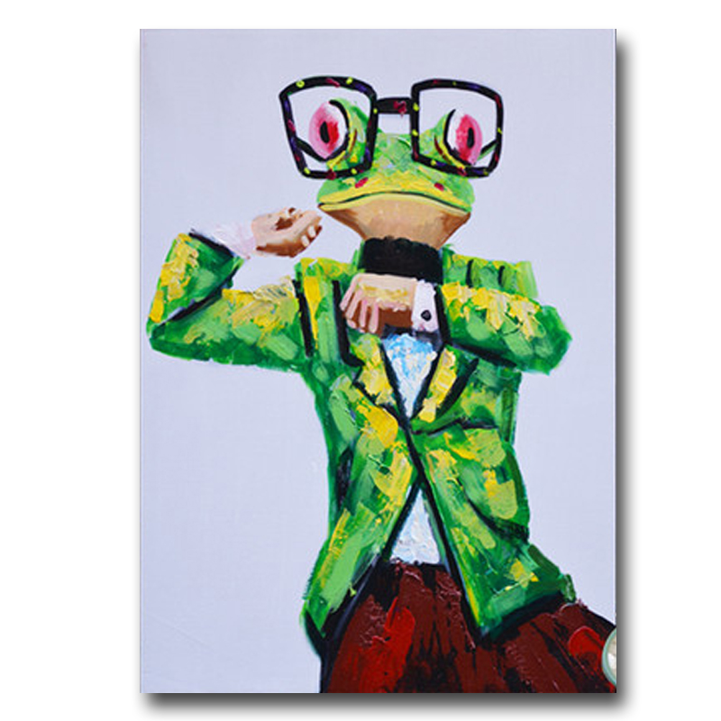Hand Painted Oil Painting Business Suit Frog On Linen With Frame Modern Home Decor Wall Picture For Coffee Shop Living Room