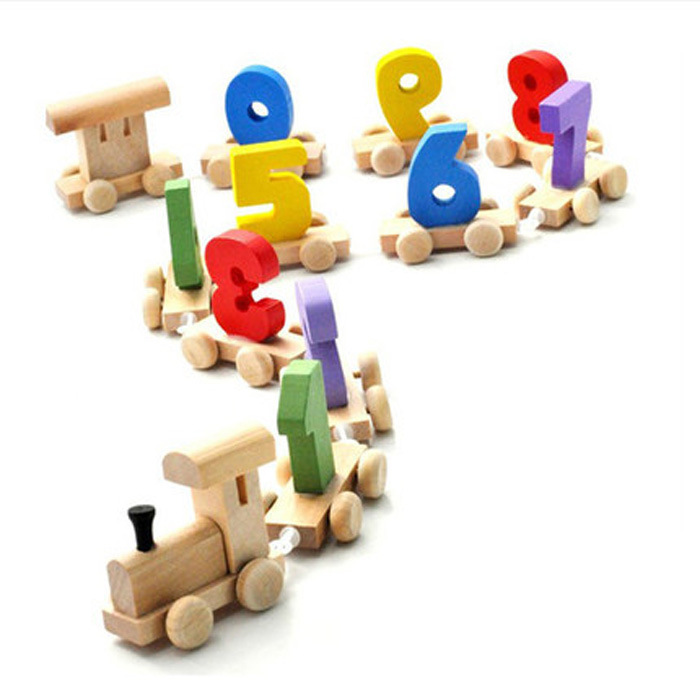 0-9 Numbers Wooden Train Toy Dragging Matching Baby Children Kids Educational Diecasts Toys Vehicle Blocks Set ZS006