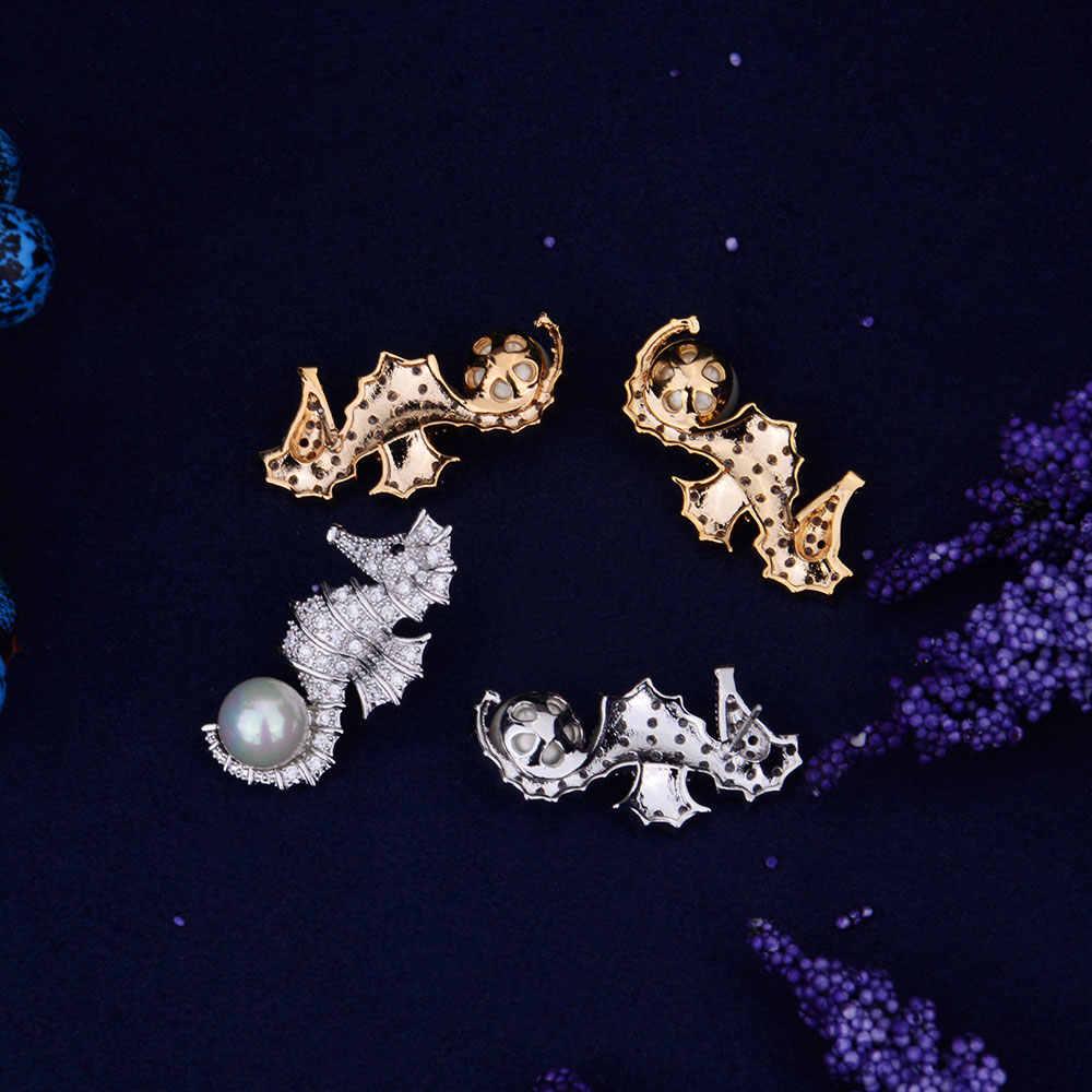 GODKI Độc Đáo Mẹ Của Ngọc Trai Cubic Zirconia Baguette Stones Hippocampus Ear Stud Earrings Shinning Wedding Jewelry