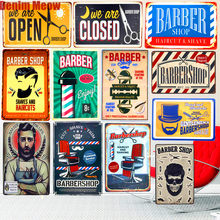 Haircut & Shave Retro Metal Plates Pub Decoration Shop Advertising BARBERSHOP Wall Stickers Top Hairstyle Art Plaque Home Decor(China)