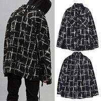 High Street Autumn and Winter Long Sleeve Hip hop Shirt Black and White Lattice Male Hip Hop Tops Shirt Men Knitted Shirt