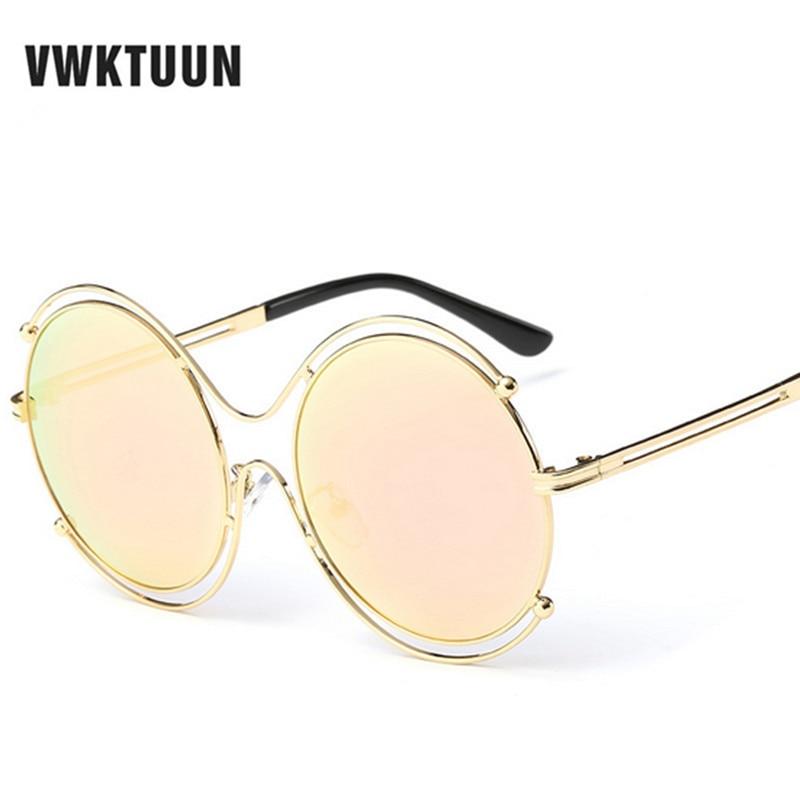 c74b9ed22581a0 VWKTUUN Steampunk lunettes de Soleil Femmes En Métal Vintage Lunettes de Soleil  Pour Femmes Miroir Lunettes Rondes Oculos Feminino Lunettes De Soleil UV400