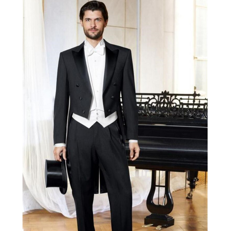 New Arrival Wedding Suits For Men Black Men Tailcoat Three-pieces Groomsmen Suits Men Suits Slim Fit Men Wedding Suits