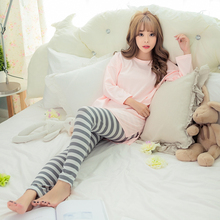 Autumn and winter ladies long sleeved pajamas solid color shirt striped trousers Home wear suit female Casual sleepwear M-XXL