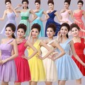 Party Gowns 2017 new fashion ball gown one-shoulder draped short Bridesmaid Dresses