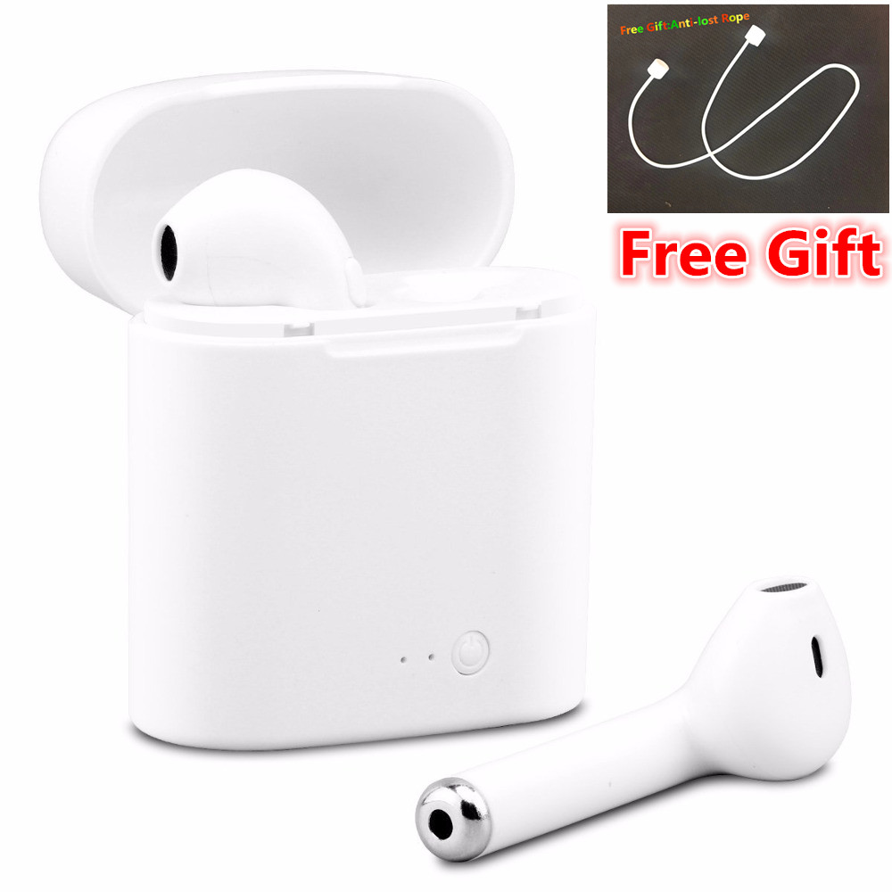 Hot i7s TWS Mini Bluetooth Earbuds Wireless Headphones Headsets Stereo In-Ear Earphones with Charging Box Mic for ios Android