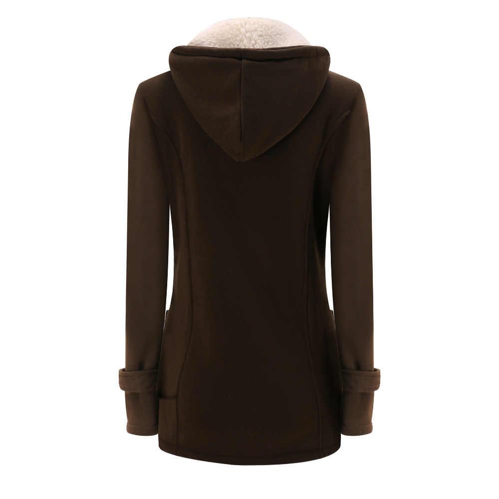 가을 여성 양모 블렌드 더플 코트 오버 코트 숙녀 후드 칼라 긴 소매 자켓 코트 슬림 피트 지퍼 아웃웨어 yf1580008090