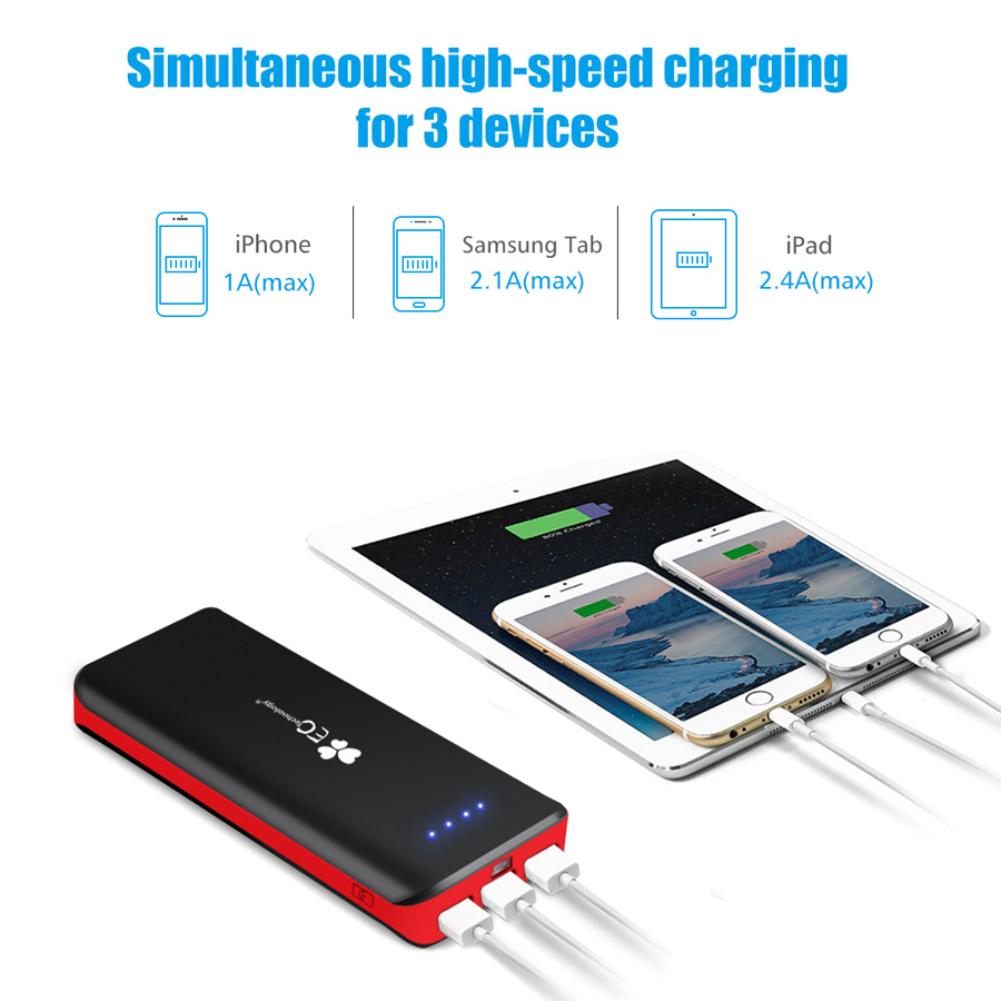 EC Technology Power bank 16000mah Usb External Battery Charger Fast Charging External battery charger Powerbank Battery