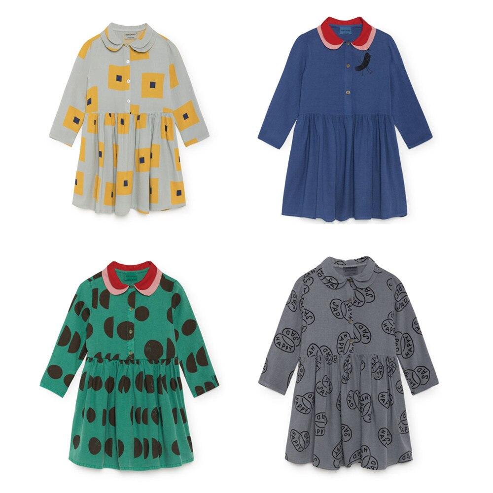 2018 herbst Bobo Choses Baby Mädchen Quadrate Kleid Kinder Vestidos Kleidung Moons Vogel Prinzessin Kleid Für Mädchen Retro Kleidung