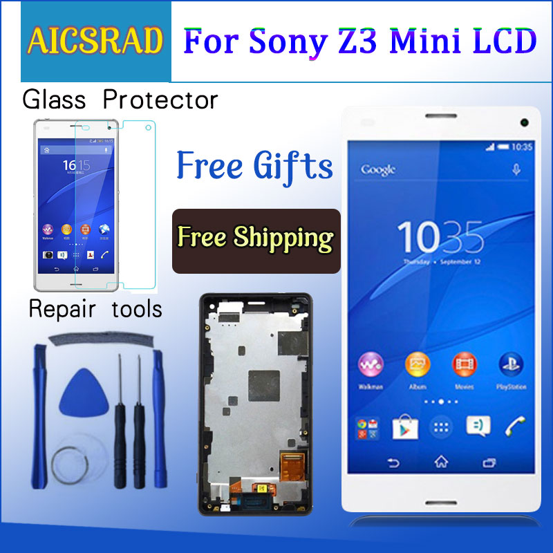 LCD For SONY Xperia Z3 Compact Display Touch Screen with Frame Z3 Mini D5803 D5833 For SONY Xperia Z3 Compact DisplayLCD For SONY Xperia Z3 Compact Display Touch Screen with Frame Z3 Mini D5803 D5833 For SONY Xperia Z3 Compact Display
