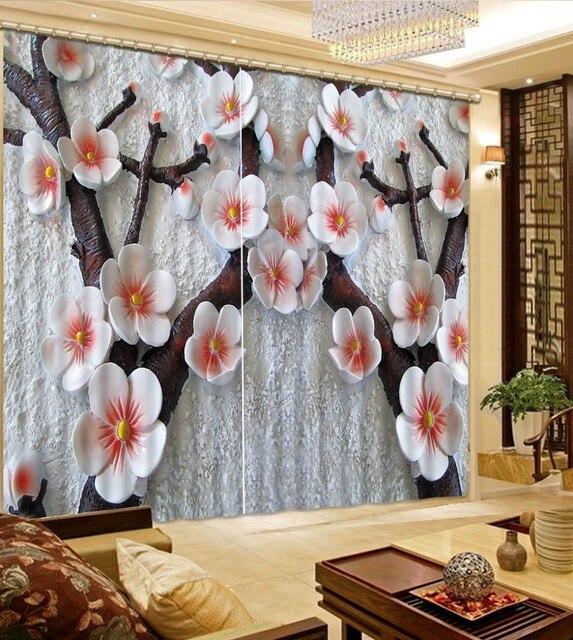 gordijnen voor de woonkamer custom 3d curtains Flowers curtains for ...