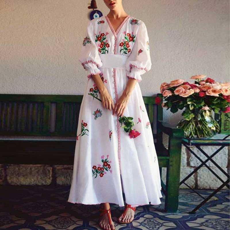 BOHO inspiré blanc floral brodé robe femmes col en v 3/4 manches boutons vers le bas 2019 printemps été robe décontracté chic vestidos
