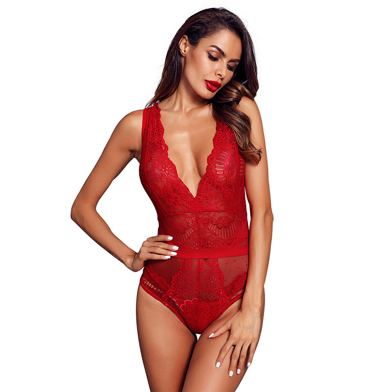 Red-Scalloped-Deep-V-Neck-Lace-Bodysuit-LC32226-3-4