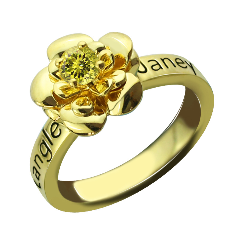 Gold Color Birthstone Flower Ring Engraved Band