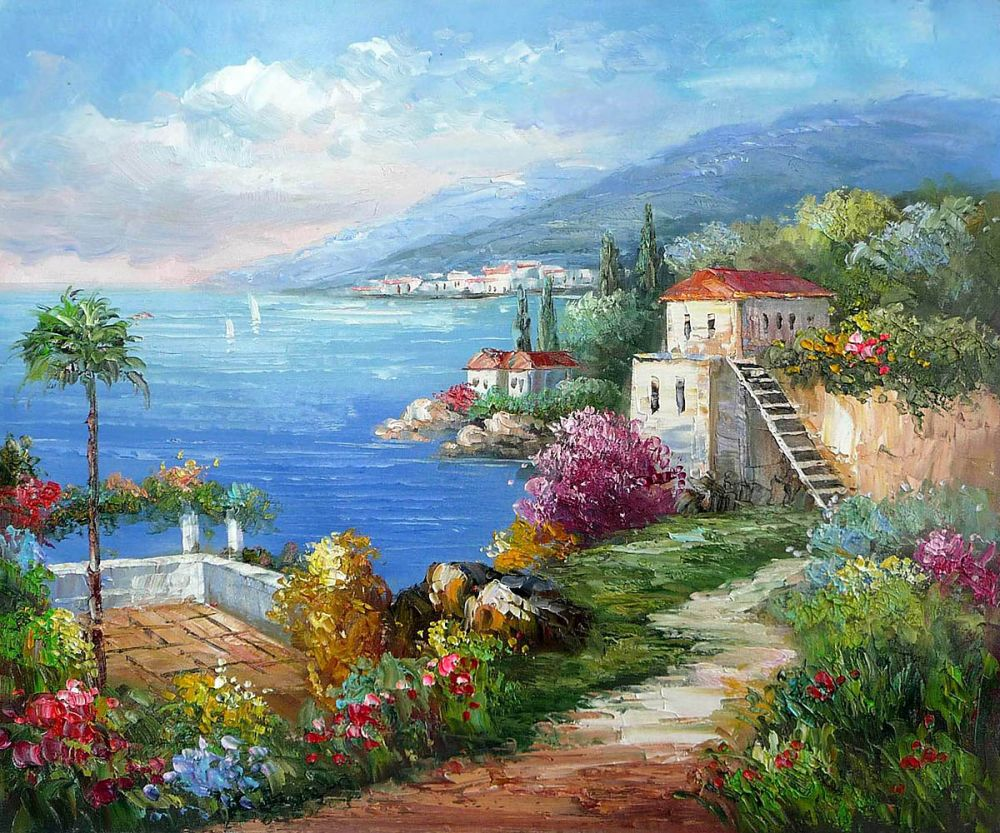 Beautiful Mediterranean Sea Painting For Hotel Wall