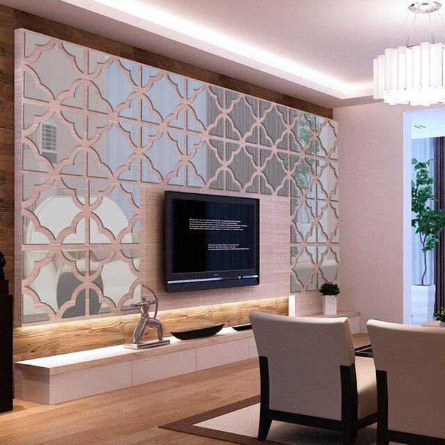Besar Bunga Stiker Dinding Dekorasi Rumah Modern Acrylic Cermin Permukaan Wall Sticker Diy Ruang Tamu
