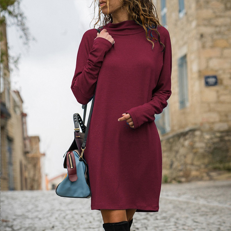 2019 New Spring Straight Mini Dress Vestidos Women Elegant Long Sleeve Casual Short Dress Solid Color Party Dresses