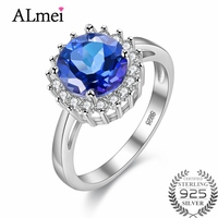 Gemlove 2 2ct Blue Topaz Engagement Ring Diamond Tester 925 Sterling Silver Women S Rings Mother