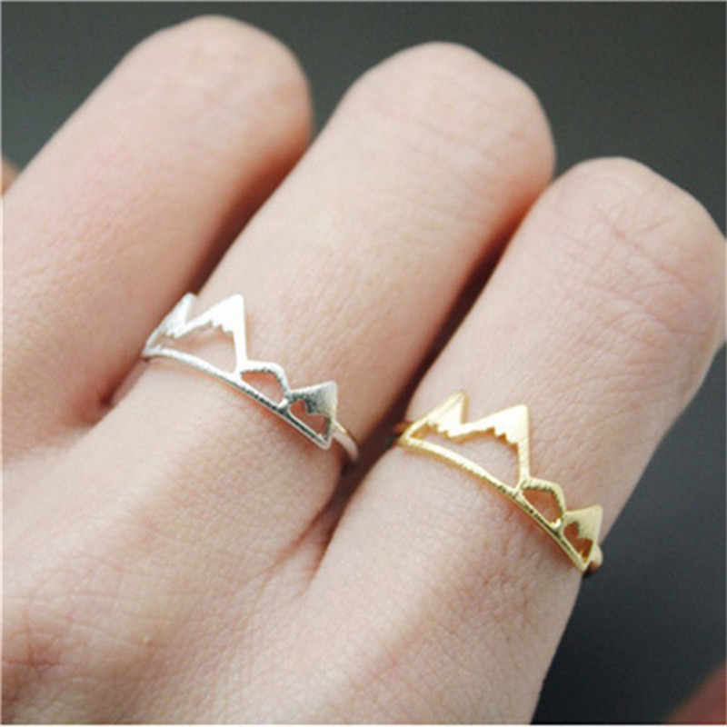 BOAKO New Fashion Adjustable Ring Open Mountain Rings for Women Birthday Gift Charm Jewelry Finger Wave Ring Anillos Bague X7-M2