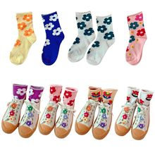 Korean Women Girls Relaxed Roll Top Long Crew Socks Bright Candy Color Sunflower Harajuku Students Casual Cotton Tube Hosiery