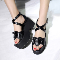 Zapatos Mujer Plataforma Women Sandals Comfort Platform Wedge Sandals Summer High Heel Sandals Fashion Black Pu