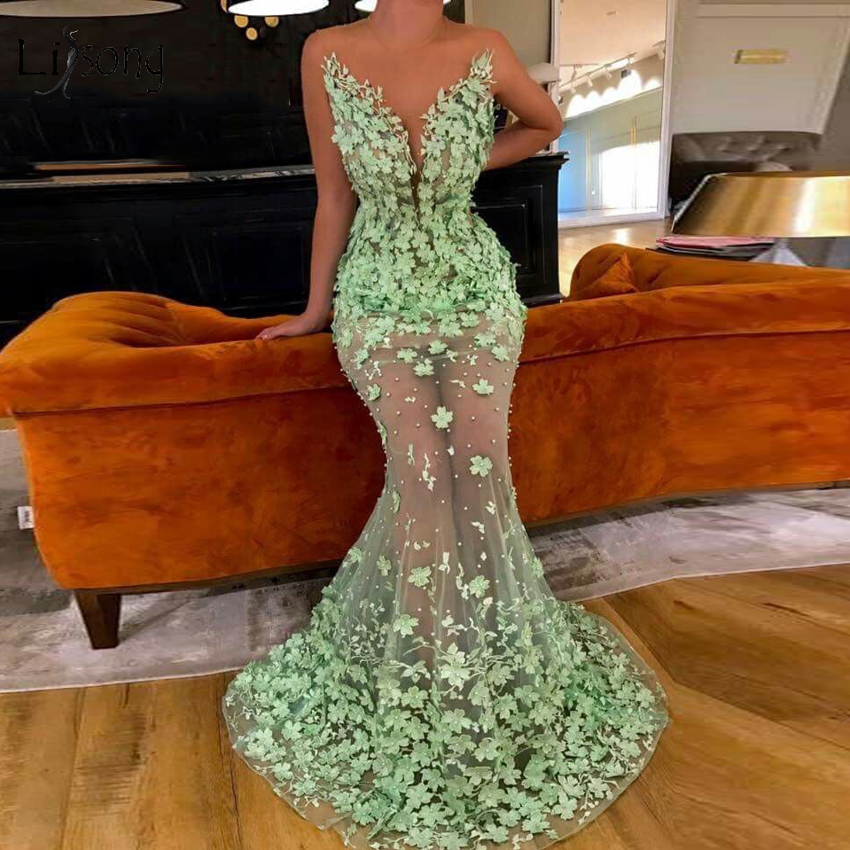 Sexy Illusion 3D Flower Mermaid   Evening     Dresses   2019 Cut- Out Mermaid Long Prom Gowns Formal Party   Dresses