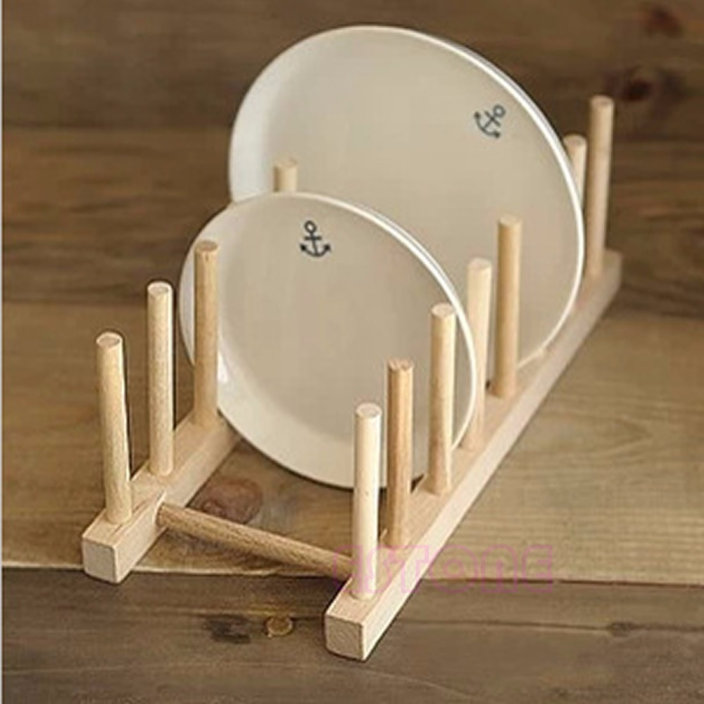 New Wooden Drainer Plate Stand Wood Dish Rack 7 Pots Cups