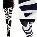 Girl Lady Women Sexy Wild Striped Zebra Print Punk Funky Pencil Thin Leggings Slim Pants