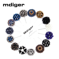 9 Colors New Fashion Daisy Flower Lapel Crystal Pins Floral Men Lapel Pin Men Brooch For