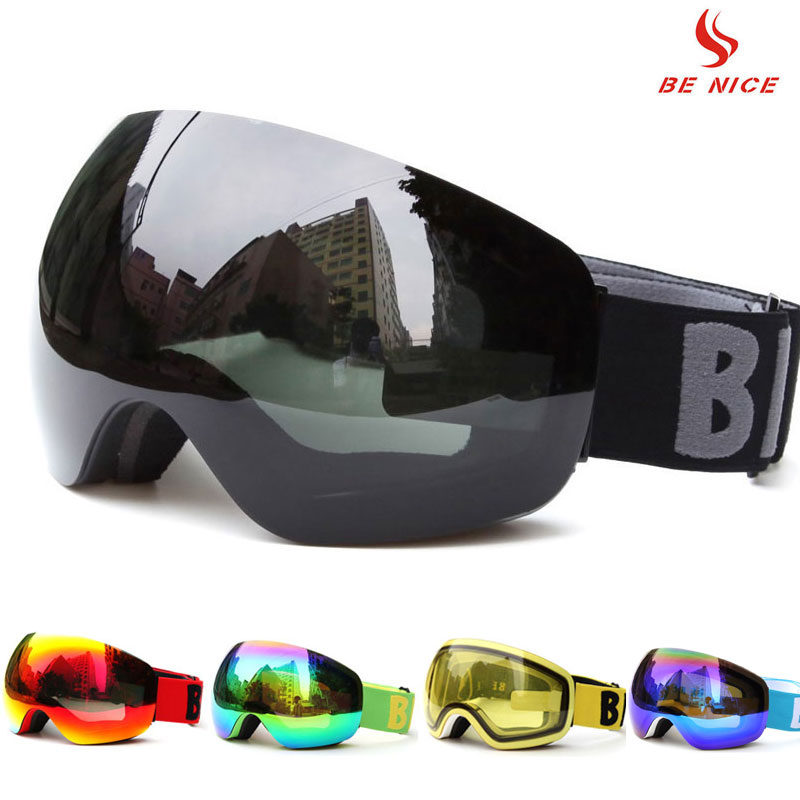 Professional Big Frame Ski Goggles Double Lens UV400 Anti-fog Adult Snowboard Skiing Glasses Women Men Snow Eyewear for helmet vector brand ski goggles men women double lens uv400 anti fog skiing eyewear snow glasses adult skiing snowboard goggles