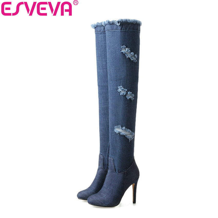 ESVEVA 2018 Women Boots Over Knee High Boots Sexy Thin High Heels Spring and Autumn Blue Party Ladies Fashion Boots Size 34-43 sexy women fashion boots high thin heels shoes round toe platform ladies party over the knee knight boots plus size 43