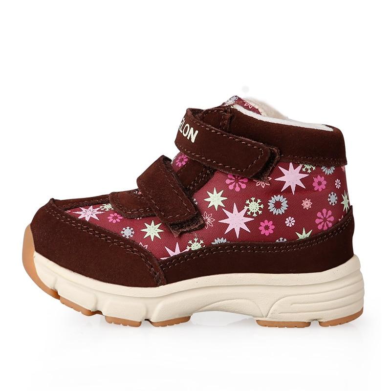 Žiemos kūdikių vaikai Sniego batai berniukams ir mergaitėms Minkšti apačios funkcija Avalynė Tikroji oda Pridėkite vilną Vaikams Vaikiški batai