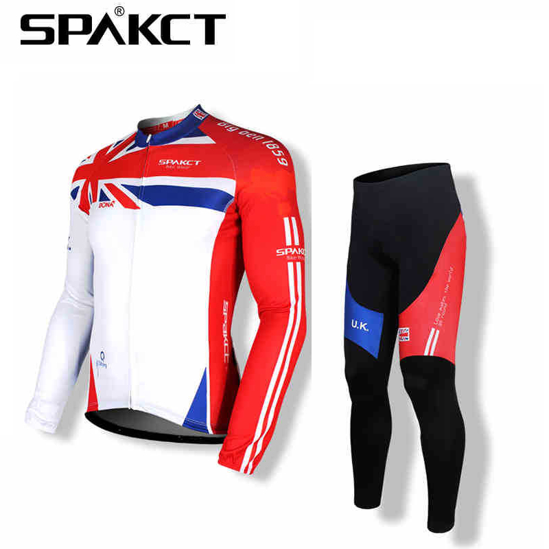 SPAKCT Men's Sprotswear Bike Bicycle Wear Cycling Suits Long Jersey Jacket Long Sleeves&Tights Pants Pad- World Cup England winter men outdoor running jacket suits cycling suits long sleeve jacket tights pants sport wear sets