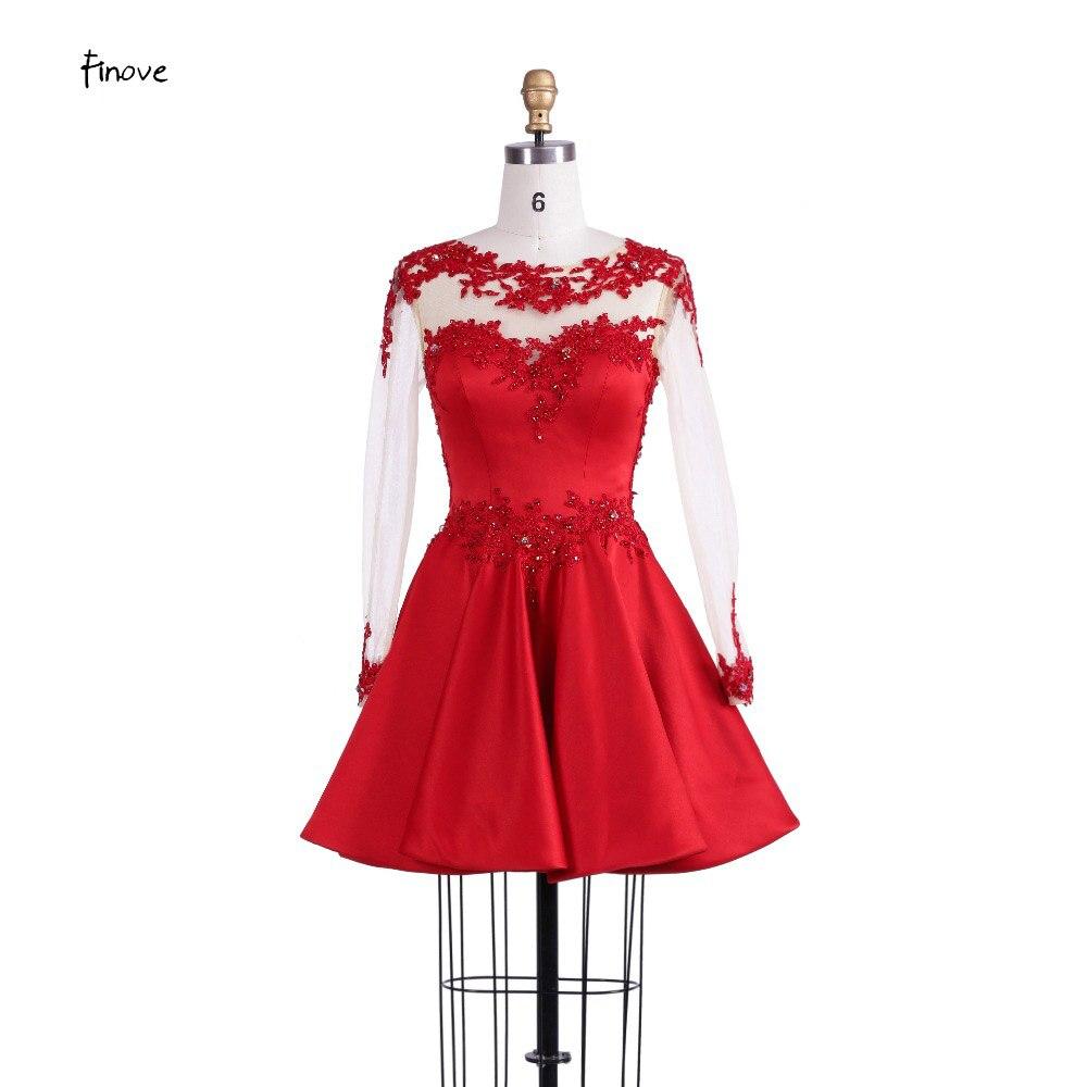 Finove Cocktailkleider Mode 2018 Kurz Rot Homecoming Kleid mit A ...
