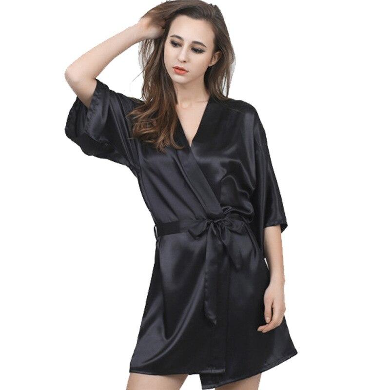 Silk Dressing Gowns Ladies: New Arrival Black Sexy Women Robe Silk Kimono Bathrobe