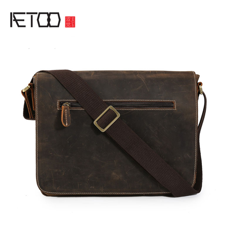 AETOO Retro mad horse leather men's shoulder Messenger bag leisure first layer of cowhide bag male package aetoo women retro shoulder bag fashion handbags europe and america shoulder bag head layer cowhide mad horse shopping bag