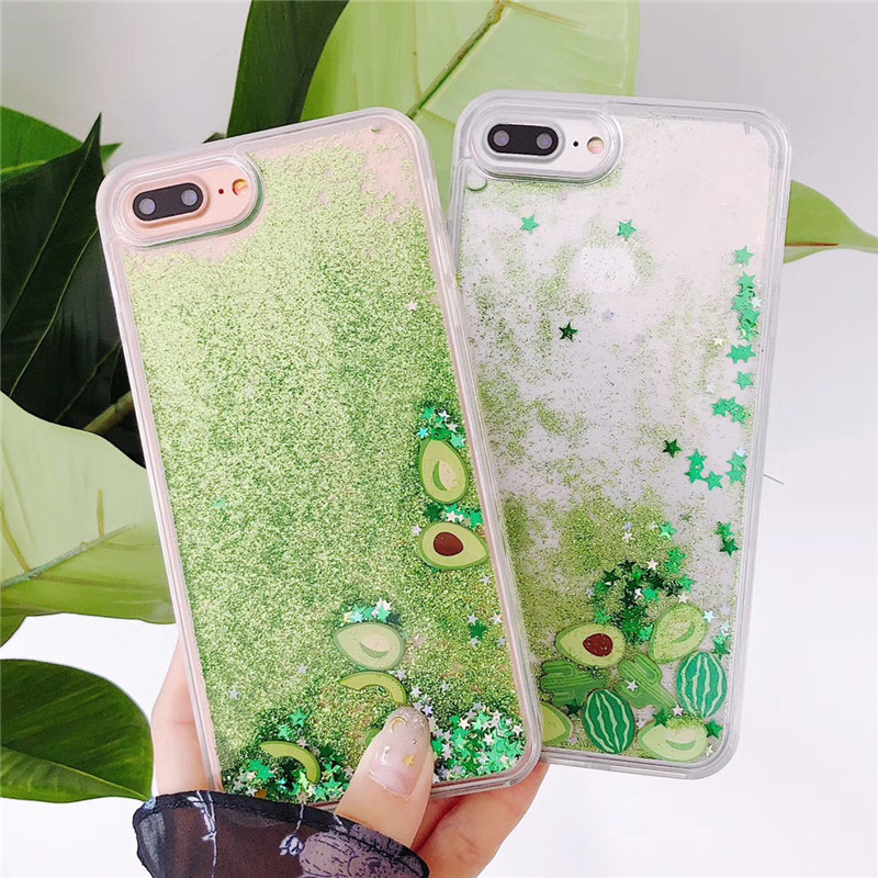 Bling Glitter watermelon Avocado Phone Case For iPhone X XR XS Max Flowing Liquid fruit Back